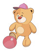 A stuffed toy bear cub a soccer player cartoon