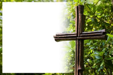 Kreuz auf Grün mit Text