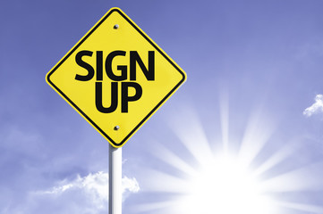 Sign Up road sign with sun background