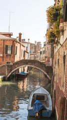 Venedig, historische Altstadt, Kanal, Boote, Frühling, Italien