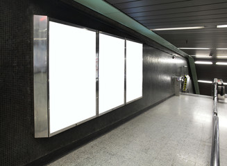 Blank Billboard in metro subway station
