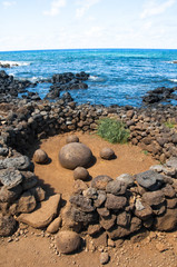 Magnetic round stone in Te Pito Kura, Easter island (Chile)