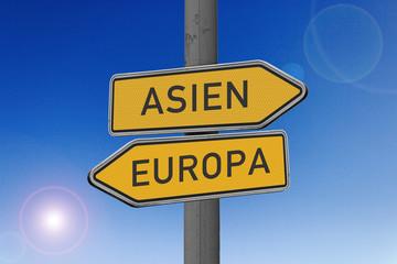 Richtungsschild Asien, Europa