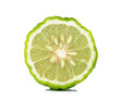 canvas print picture - Kaffir lime slice isolated on white background