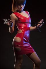 Girl in red latex dress
