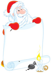Santa Claus with a scroll of paper for your text