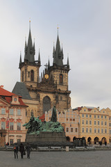 Old Town Square, Tynsky temple. Prague, Czech Republic