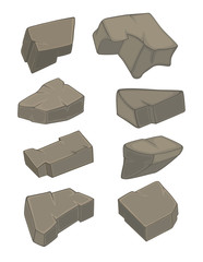 A set of stones cartoon