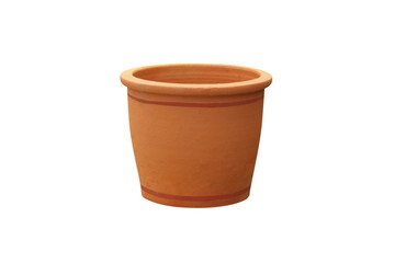 Orange flower pot isolated on white background