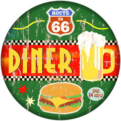 retro american route 66 diner sign, vector eps