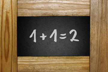 mathematical equation on blackboard in wooden frame