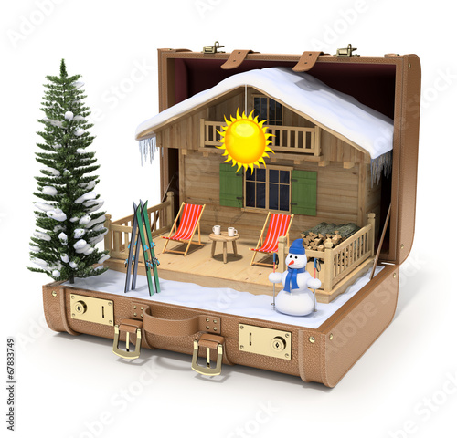 Ski hut in the case