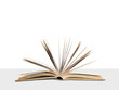 Open book on wall background