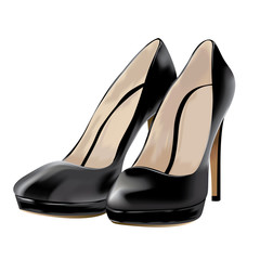 black shoes, patent leather, vector illustration