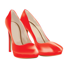red shoes, patent leather, vector illustration