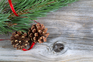 Holiday Pine Cones on Wood