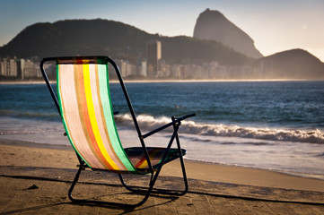 Beach Chair in Front of the Sea with Rio de Janeiro