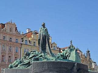 Prague.  Monument to the national hero Jan Hus