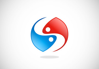 yin yang circle balance abstract vector logo