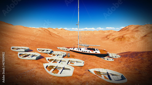 dried out lake with boats - 67884982