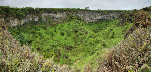 View of one of the twin volcanic craters in Santa Cruz