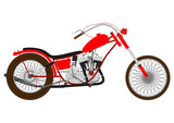 Fototapety Cartoon vintage motorcycle on a white background.