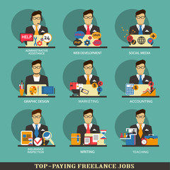 Set of freelance career icons.