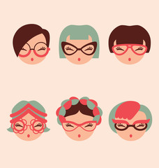fashion girls in glasses icon set vector illustration