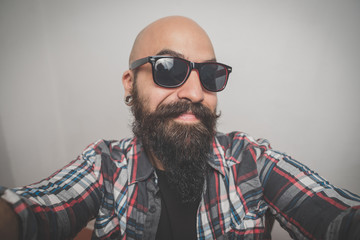 hipster long bearded and mustache man