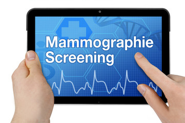 Tablet mit Interface und Mammographie Screening
