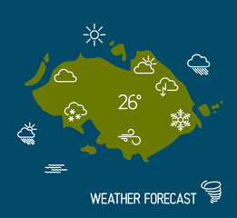 Weather forecast map with flat pointers and icons