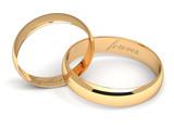 Wedding rings on white. - 67887325