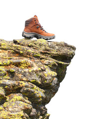 Hiking boots on the rock with space for your text.