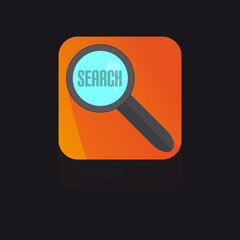 Flat Icon With Magnifying Glass With Search Label
