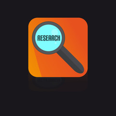 Flat Icon With Magnifying Glass With Research Label