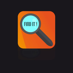 Flat Icon With Magnifying Glass With Find It Label