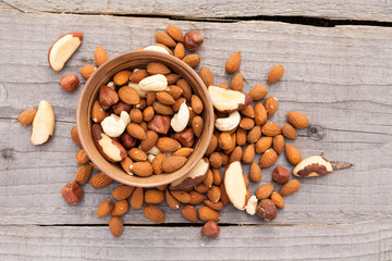 Nuts in bowl on wood