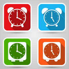 Alarm clock icons vector set