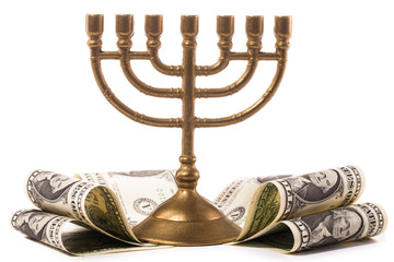 Hanukkah menorah with dollar money