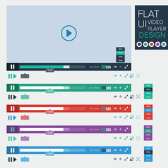 Flat UI design of video player