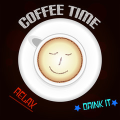 Coffee With Smile on Brown Background and Text