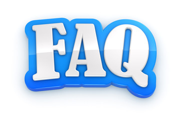 FAQ 3D word on white background with clipping path
