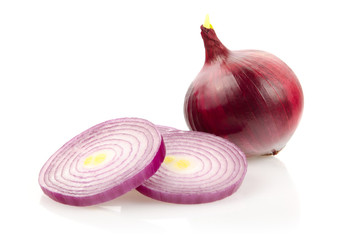 Red Onion and Onion Rings on White Background