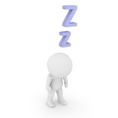 3D Character Standing and Sleeping with Z letters