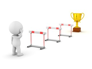 3D Character Looking at Obstacles and Trophy