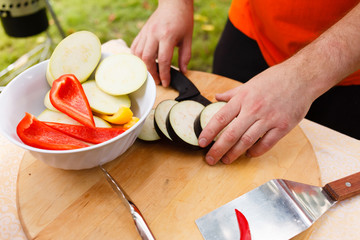 chef making grilled vegetables