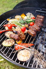 grilled kebab and vegetables