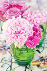 Floral composition with a pink peony,hydrangea and roses