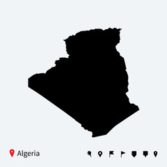 High detailed vector map of Algeria with navigation pins.