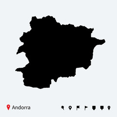 High detailed vector map of Andorra with navigation pins.